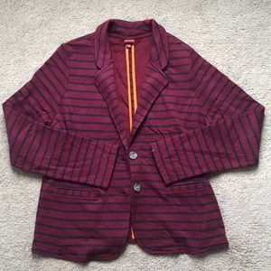 Maroon and navy striped blazer sweatshirt